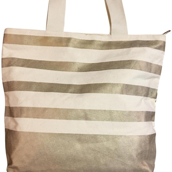 Bath & Body Works Handbags - BATH & BODY WORKS Striped Canvas Zip Top Tote